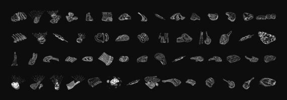 vlees hand getrokken collectie vector