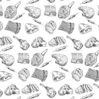 hand getrokken vlees, biefstuk, rundvlees en varkensvlees, lamspatroon vector