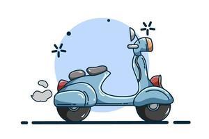 blauwe scooter illustratie