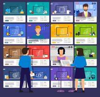 online onderwijs. e-learningcursus studeren vanuit huis vector