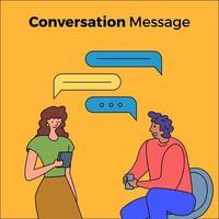 mensen die een gesprek voeren met chatbox-bubbels vector
