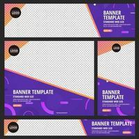 set van standaard webbanners met kleurrijke abstracte geometrische ontwerpen