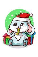 een blauw konijn dat op een trompet blaast en wat kerstcadeautjes vector