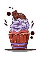 cupcake met paarse room met wafel en koekchocolade vector