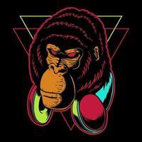 Gorilla hoofdtelefoon vectorillustratie vector