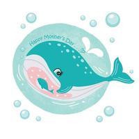 moederdag kaart met walvissen. schattige dieren moeder en baby. vector