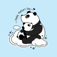 moederdagkaart met panda's. panda moeder knuffelen babypanda. vector