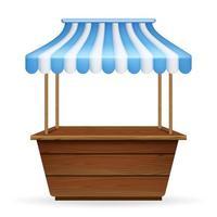 realistische vectorillustratie van lege marktkraam met blauw en wit gestreepte luifel. mockup van houten toonbank met luifel voor straathandel.