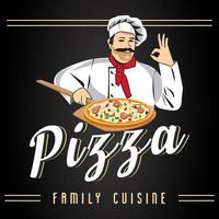 pizza vector label