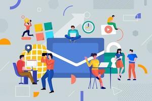 kleurrijk team van mensen die samenwerken en geld verdienen in het bedrijfsleven vector