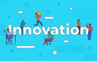 kleurrijk team van mensen die samenwerken aan innovatie vector