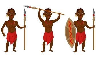 Afrikaanse tribale krijger in verschillende poses. vector