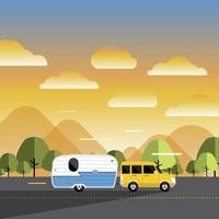 auto en camper op de weg vector