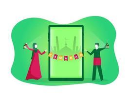 gelukkige jonge moslim met ramadan kareem-tekst op groene vector als achtergrond.