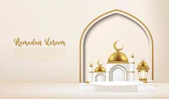 3d ramadan kareem achtergrond met podium. vector