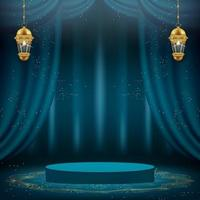 3d ramadan kareem-banner met groene gordijnen en podium vector