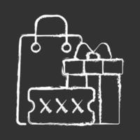 promotiecode voor aankoop bonus krijt wit pictogram op zwarte achtergrond