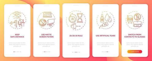 tips voor het voorkomen van digitale vermoeide ogen onboarding mobiele app-paginascherm met concepten