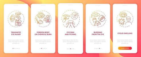 redenen voor noodoogonderzoek bij het onboarding van het paginascherm van de mobiele app met concepten vector