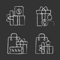 aankoopkortingen en cashback krijt witte pictogrammen instellen op zwarte achtergrond