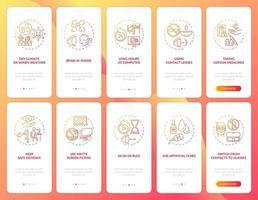 ooggezondheid onboarding mobiele app-paginascherm met ingestelde concepten vector