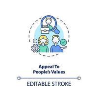 beroep doen op waarden van mensen concept pictogram