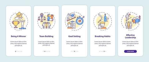 motiverende inhoudstypen onboarding mobiele app-paginascherm met concepten vector