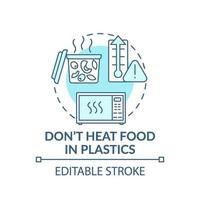 Verwarm geen voedsel in kunststof concept pictogram vector