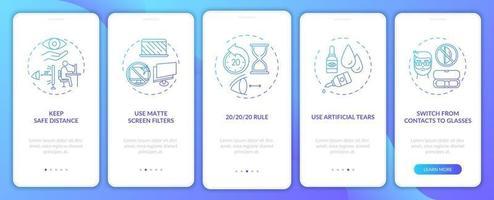 tips voor het voorkomen van digitale vermoeide ogen onboarding mobiele app-paginascherm met concepten vector