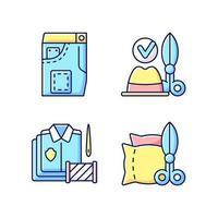 kleding wijziging service rgb kleur iconen set vector