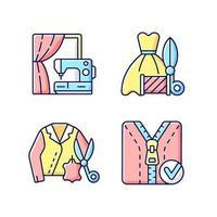 kleding reparatie service rgb kleur iconen set vector