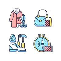 kleding reparatie rgb kleur iconen set vector