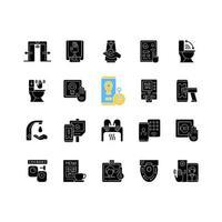 contactloze technologie zwarte glyph pictogrammen instellen op witte ruimte vector