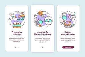 microplastics effecten onboarding mobiele app pagina scherm met concepten vector