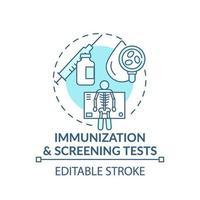 immunisatie en screening tests blauw concept pictogram vector