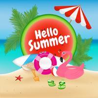 Hallo zomer seizoen achtergrond en objecten ontwerp met Flamingo