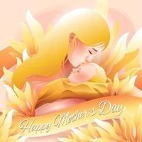 moeder kussen baby in gelukkige moederdag concept vector