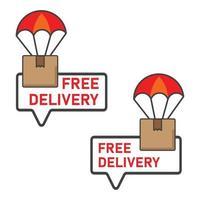 gratis levering illustratie. pakket levering illustratie. platte vector pictogram.