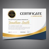 Blauwe gouden diploma sjabloon vector