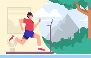 sportschool thuis met virtual reality-bril vector