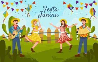 mensen die festa junina vieren vector