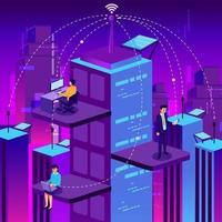 mensen uit het bedrijfsleven werken in smart city-concept vector