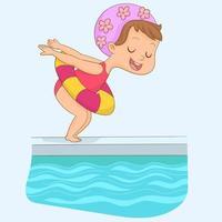 klein meisje springen naar het zwembad met een opblaasbare vlotter