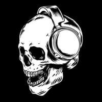 schedel die hoofdtelefoonillustratie zwart en wit draagt vector