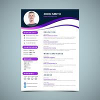 Paarse CV ontwerpsjabloon vector