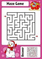 vierkant doolhof. spel voor kinderen. winter thema. grappig labyrint. onderwijs ontwikkelend werkblad. activiteitenpagina. cartoon stijl. raadsel voor de kleuterschool. logisch raadsel. kleur vectorillustratie.