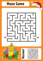 vierkant doolhof. spel voor kinderen. winter thema. grappig labyrint. onderwijs ontwikkelend werkblad. activiteitenpagina. cartoon stijl. raadsel voor de kleuterschool. logisch raadsel. kleur vectorillustratie. vector