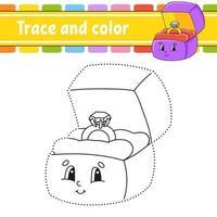 trace en kleur. kleurplaat voor kinderen. handschrift praktijk. onderwijs ontwikkelend werkblad. activiteitenpagina. spel voor peuters. geïsoleerde vectorillustratie. cartoon stijl.