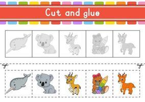 knippen en spelen. papieren spel met lijm. flash-kaarten. onderwijs werkblad. activiteitenpagina. schaar oefenen. geïsoleerde vectorillustratie. cartoon stijl.