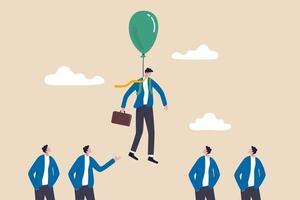 innovatie of onderscheidende vaardigheid om anders te zijn dan anderen, succesleider met winnend strategieconcept, slimme zakenman die met ballonpak over andere concurrent vliegt of kandidaten werven.
